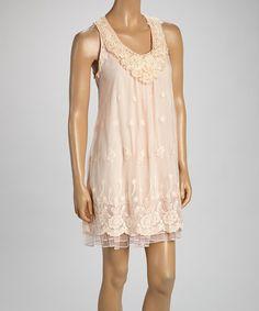 Peach Floral Linen-Blend Sleeveless Dress