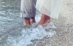 Creative picture.  I like anything that is different.  Love the waves around their feet. #photo possibilities, #wedding
