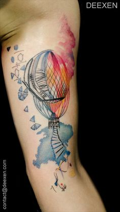 Air Balloon #Watercolor #Graphic  #Tattoo #Deexen