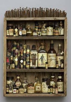 Medicine Cabinet: altered bottles for the dark and creepy overachievers among us. A lot of work but this would so make the Halloween decor! Halloween Crafts, Halloween Decorations, Halloween Kitchen, Halloween Bottles, Halloween Spells, Halloween Apothecary, Halloween Displays, Halloween 2015, Halloween Stuff