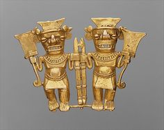 Double Bat-Head Figure Pendant    Date:      11th–16th century  Geography:      Panama  Culture:      Chiriqui  Medium:      Gold  Dimensions:      Overall: 3 in. (7.62 cm)  Classification:      Metal-Ornaments