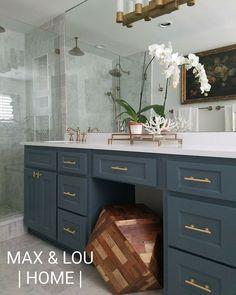Sherwin Williams, marble tile, master bathroom, slate blue vanity, brass hardware, Max & Lou Home
