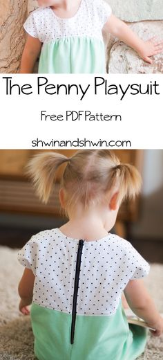A Free PDF Pattern for the Penny Playsuit. A one piece playsuit with gathered bodice and exposed back zipper. Sewing Patterns Free, Free Sewing, Baby Patterns, Sewing Tutorials, Clothing Patterns, Sewing Projects, Free Pattern, Pattern Ideas, Sewing Kids Clothes