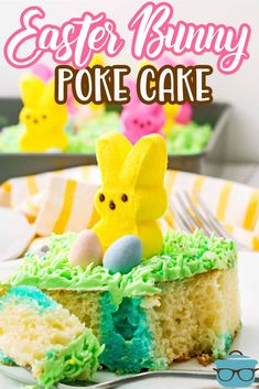 """This Easter Bunny Poke Cake is poked with Jell-O, topped with a fun whipped """"grass"""" frosting and topped with bunny Peeps and Cadbury eggs. Cadbury Chocolate Eggs, Easter Chocolate, Cadbury Eggs, Poke Cake Recipes, Poke Cakes, Cupcake Cakes, Dessert Recipes, Cupcakes, Hoppy Easter"""