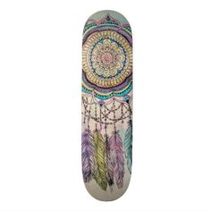 tribal hand paint dreamcatcher mandala design skate decks