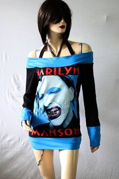Marilyn Manson Heavy Punk Metal Rock DIY Boat Neck Top Shirt