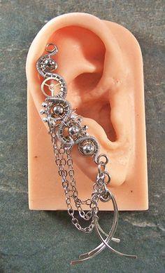 All Metal Large Steampunk Ear Cuff by HeatherJordanJewelry on Etsy, $25.99