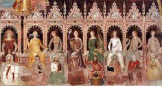 "Andrea di Bonaiuto ~ Fresco from Santa Maria Novella in Florence  (detail) ~ ""Triumph of St Thomas and Allegory of the Sciences"" ~ 1365-68 ~ Italian Gothic"