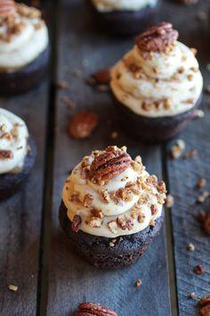 Chocolate Bourbon Pecan Pie Cupcakes with Butter Pecan Frosting | halfbakedharvest.com