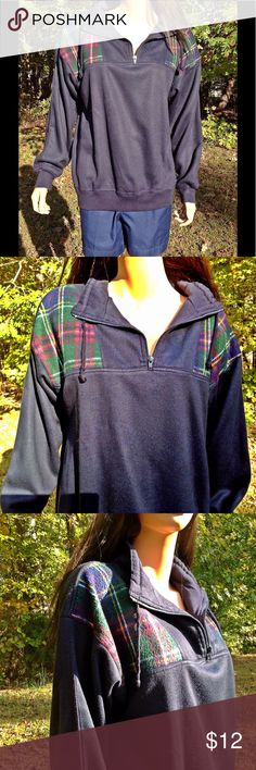 """Sport Blue Sport Shirt Size Medium Size Medium *  Plaid Pattern Accent *  Long Sleeves *  Drawstring in the collar *  Length = 27"""" *  Bust armpit to armpit = 23"""" (46) * Sleeves = 21"""" *  Shoulder to Shoulder = 24"""" *  Orders ship within 1 Business Day excluding weekends. Thanks For Shopping with Dress To Impress Thrift & Boutique.  Have A Great Day Sport Tops Sweatshirts & Hoodies"""