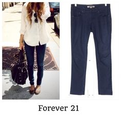 """Forever 21 Skinny Jeans Dark denim skinny jeans by forever 21. These do have a stretch to them. Waist laying flat is 16"""" and inseam is 32"""". In excellent condition!! Forever 21 Pants Skinny"""