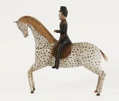 Swedish folk art carved horse and soldier, second half of the 19th century.  S:t Olofs Antik o Retro blogg