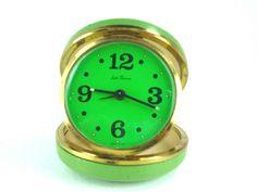 Green Seth Thomas Travel Alarm Clock Vintage by ChromaticWit