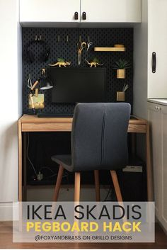 IKEA SKADIS HACK For A Mini Office Nook is part of Office Organization Ikea - IKEA SKADIS HACK Learn how to customise the ikea skadis pegboard to fit into a mini office nook This hack is great for organising small work spaces and hides ugly computer wires Tiny Office, Cool Office Space, Office Nook, Office Storage, Home Office Decor, Home Decor, Office Ideas, Office Designs, Office Walls
