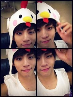 SHINee's Jonghyun shows aegyo with a chicken hat #allkpop #kpop #SHINee