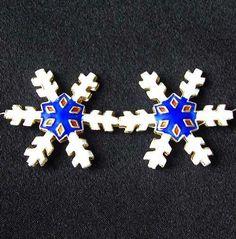 TWO Cobalt CLOISONNE Snowflake CENTERPIECE Beads 8638B - Premium Bead