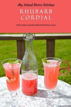 Beautiful pink drink made with rhubarb Rhubarb Uses, Red Rhubarb, Rhubarb Recipes, Rhubarb Juice, Citrus Juice, Grapefruit Juice, Summertime Drinks, Summer Drinks