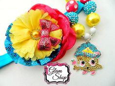 Shopkins Cupcake Queen Necklace  Chunky Bubblegum by GlamShopBeads