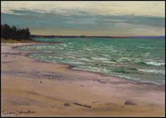 """The Lone Gull, Georgian Bay,"" Frank Hans (Franz) Johnston, oil on panel, 8 x private collection. Group Of Seven Artists, Franklin Carmichael, Tom Thomson Paintings, Emily Carr, Canada, Impressionist Art, Canadian Artists, Art Studies, Painting Abstract"