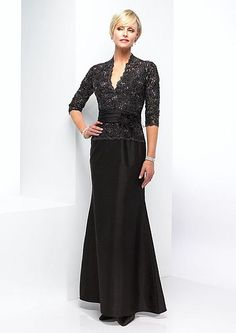 Elegant Shantung Evening Gown with Long Lace Sleeves 29143 | SIMPLE ELEGANCE