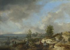 A Dune Landscape with a River and Many Figures | Philips Wouwermans | oil painting #landsapes