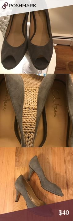 """Cole Haan grey suede peep toe pumps Beautiful shoe. Grey suede, light wear. Size 11. 3 """" heel Cole Haan Shoes Heels"""