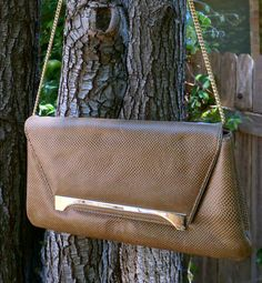1970's Susan Gail Brown Snakeskin Clutch by BlueEyedFillyVintage