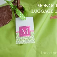 Luggage Tag PAIR - Lavender and White Chevron Custom Monogram ...