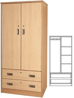 Tough Plus Double Wardrobe With 2 Drawers Double Wardrobe, Drawer Runners, Clothes Rail, Uk 5, Bedroom Storage, Psych, Tall Cabinet Storage, Drawers, The Unit