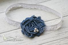 Denim Rosette - Lace Headband - Newborn Infant Baby Toddler Girl Adult Lace Headband. $8.00, via Etsy.