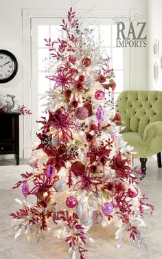 Christmas tree in white with red and pink decoration