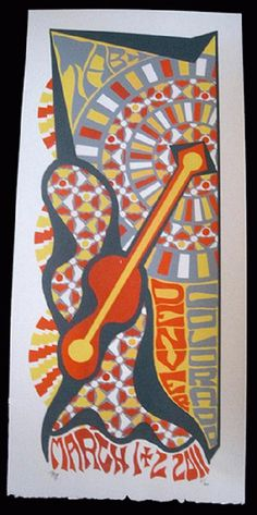 Original silkscreen concert poster for Trey Anastasio from Phish on March 1st and 2nd in Denver, CO in 2011. It is printed on Watercolor Paper with Acrylic Inks and measures around 10 x 22 inches.  Print is signed and numbered out of 60 by the artist Tripp.