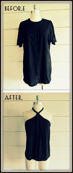 No Sew, DIY Tee-Shirt Halter!!!  Just tried to do this and succeeded!!! This means anyone can do it!