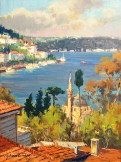 Ayhan Türker – From Bebek – Nese Uremez – Join in the world of pin Landscape Photos, Landscape Paintings, Watercolor Paintings, Oil Paintings, Modern Pictures, Art Pictures, Istanbul, Greece Painting, Cityscape Art