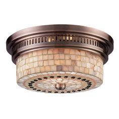 Red Barrel Studio Roselawn 2 Light Flush Mount Finish: Antique Copper