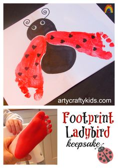 Arty Crafty Kids - Art - Footprint Ladybird Keepsake