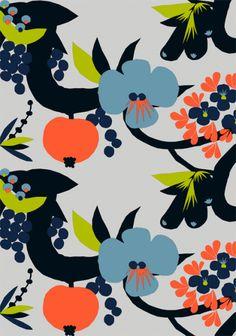 marimekko / anu luhtanen blue navy orange green grey flower fruit Finland