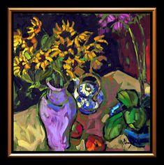 Théière, tournesols et orchidées by Jae Dougall (oil, 24 x 24 in)