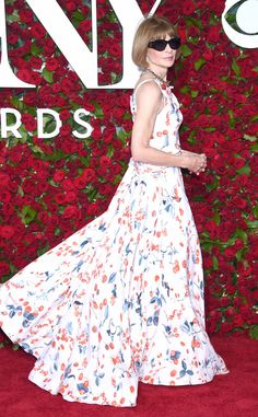 Anna Wintour from Tony Awards 2016 Red Carpet Arrivals  TheVogue Editor-in-Chief looks picture perfect in a floor-length Schiaparelli Haute Couturegown and black sunglasses.