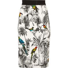 Milly Lana printed stretch-cotton pencil skirt featuring polyvore fashion clothing skirts white skirt milly skirt zipper skirt multi colored skirt zipper pencil skirt