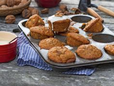 These little cakes make a change from a whole carrot cake, which can take ages to cook and is quite a mouthful. These little carrot and walnut cakes are moist and full of goodness Pastry Recipes, Baking Recipes, Juice Recipes, Free Recipes, Carrot And Walnut Cake, Carrot Cake, Deviled Sausages, Vitamins In Carrots, Carrot Juice Benefits