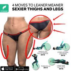 Body Weight Leg Workout, Full Body Gym Workout, Gym Workout Videos, Gym Workout For Beginners, Fitness Workout For Women, Weight Loss Workout Plan, Hip Workout, Thigh Exercises, Cellulite Exercises