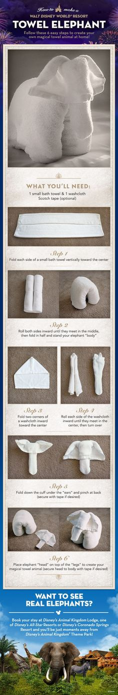 Learn how to fold an Elephant Towel Animal. #elephant #craft #vacation #tip #disneyworld #AnimalKingdomLodge