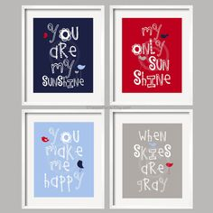 You Are My Sunshine Navy, Red, Blue and Gray 4 prints nursery art, baby shower gift, boy or girl art, twin art by YassisPlace