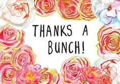 Flower Thank You Greeting Cards Pack of Three by Leenykova Thank You Greeting Cards, Thank You Greetings, Thanks A Bunch, Worms, Coloring Pages, Thankful, Printables, Flowers, Etsy