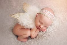 Gold Feather Angel Wings Newborn Baby Photo Prop
