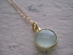 Sea Green Chalcedony & Gold Necklace Chain Gift by jewelsbyn, $22.00