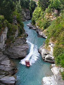 For adrenalin junkies only - The Shotover Jet is a breath-taking ride through narrow canyons at hurtling speed. Hold tight! Queenstown, New Zealand.