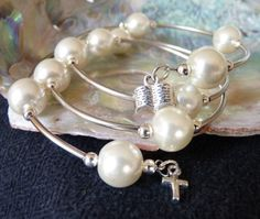 Pearl Wrap Bracelet in Silver with Book & Cross Charms