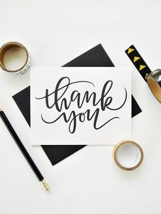 Thank You Card Modern Thank You Card Minimalist Thank You Card Calligraphy Card Hand Lettered Card Teacher Appreciation Card Calligraphy Thank You, Calligraphy Cards, Modern Calligraphy, Thank You Typography, Calligraphy Tattoo, Calligraphy Tutorial, Tattoo Fonts, Teachers Day Card, Teacher Cards